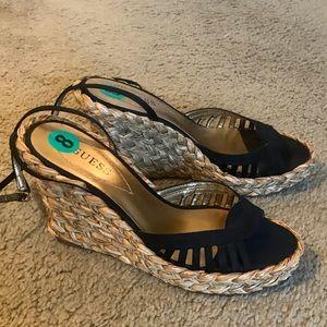 Guess braided basket heel wedges